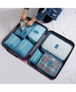 Ruputin Lake Blue Square Polyester Wardrobe Storage Cases