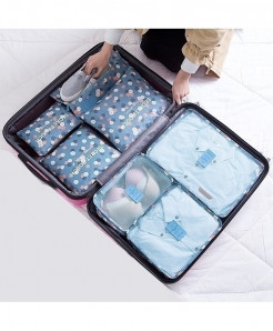 Ruputin Blue Flower Square Polyester Wardrobe Storage Cases