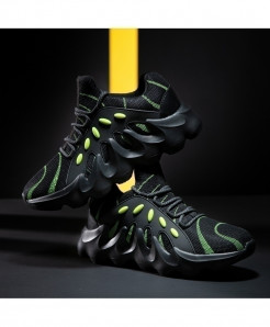 Black Green Lace-Up Leather Sneakers