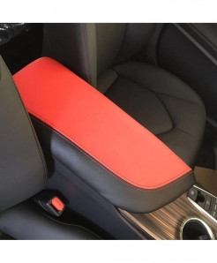 Red Microfiber Leather Armrest Case Cover