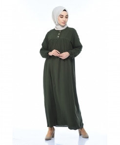 Olive Green Pleated Button Style Ladies Abaya FLK-458