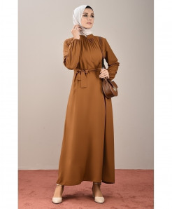 Rust Chocolate Pleated Belt Style Ladies Abaya FLK-456