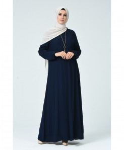 Navy Blue Pleated Plain Style Ladies Abaya FLK-455