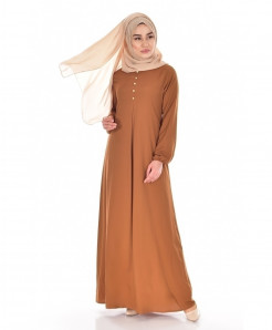Rust Brown Pleated Button Style Ladies Abaya FLK-454