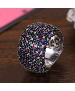 Gogki Black Purple Round Cubic Zirconia Rings