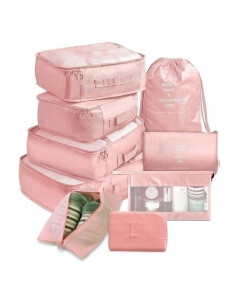 Ruputin Pink 9 Pieces Set Travel Organizer Storage Bags