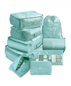 Ruputin Sky Blue 9 Pieces Set Travel Organizer Storage Bags