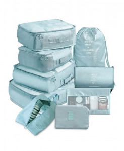 Ruputin Aqua 9 Pieces Set Travel Organizer Storage Bags