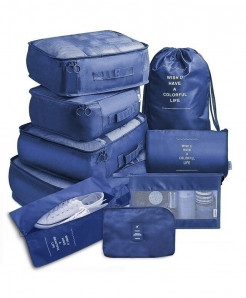 Ruputin Navy 9 Pieces Set Travel Organizer Storage Bags