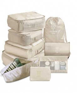 Ruputin Beige 9 Pieces Set Travel Organizer Storage Bags