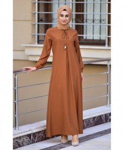 Rusty Brown Neck Dori Style Ladies Abaya FLK-463