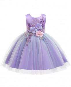 Keaiyouhuo Purple Floral Cotton Polyester Solid Girls Princess Dress