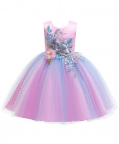 Keaiyouhuo Pink Floral Cotton Polyester Solid Girls Princess Dress