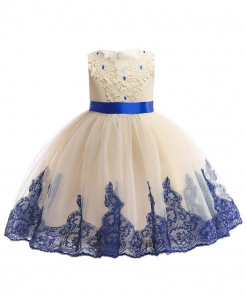 Keaiyouhuo Brown Blue Cotton Polyester Solid Girls Princess Dress