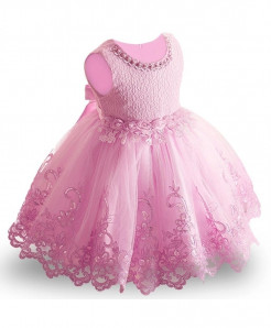 Keaiyouhuo Pink Polyester O-Neck Solid Girls Dress