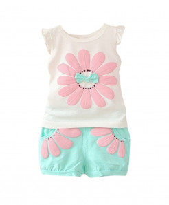 Perimedes Sky Blue O-Neck Cotton Baby Dresses