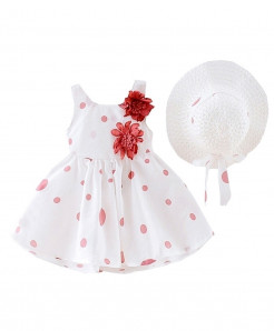 Perimedes White Pink Dotted Cotton Sleeveless Baby Dresses
