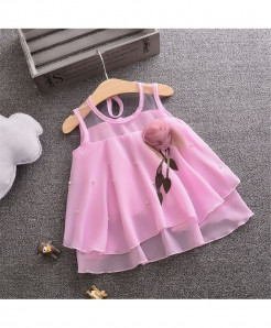 Bobora Pink Cotton Sleeveless Dress