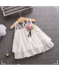 Bobora White Cotton Sleeveless Dress