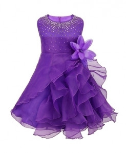 iiniim Purple O-Neck Polyester Sleeveless Dress