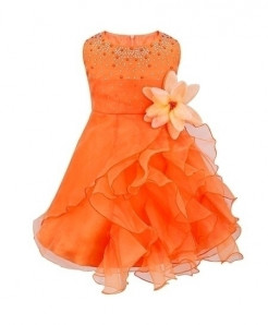 iiniim Orange O-Neck Polyester Sleeveless Dress