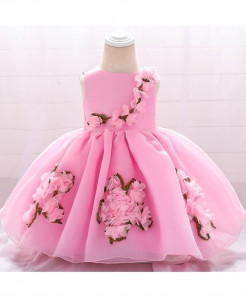 Keaiyouhuo Pink Floral Polyester Princess Dress