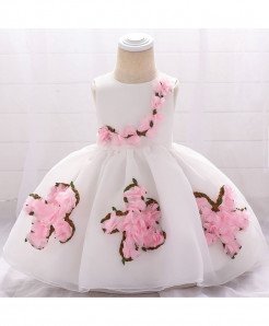 Keaiyouhuo White Pink Floral Polyester Princess Dress