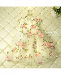 Bei Bei Wu Jia Beige Polyester O-Neck Flower Prints Baby Girls Dresses