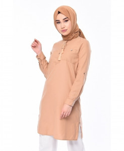 Peach Tunic Pocket Style 2Piece Linen Suit FLK-478