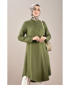 Olive Button Neck Tunic Style 2Piece Linen Suit FLK-474