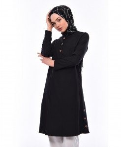 Black Tunic Button Neck Style 2Piece Linen Suit FLK-472