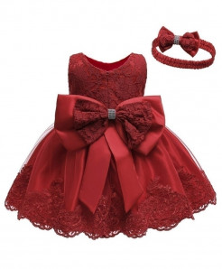 Keaiyouhuo Red Solid O-neck Princess Dress