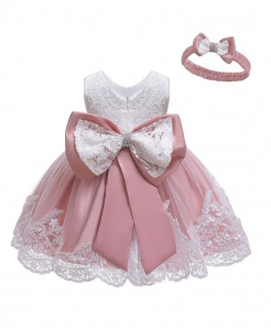 Keaiyouhuo Bean Powder Solid O-neck Princess Dress