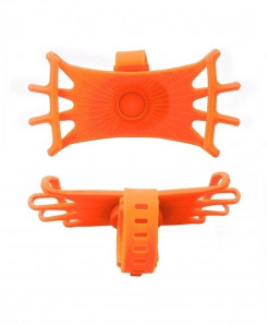 Obshi Orange Pack Of 3 Silicone Bicycle Phone Holder