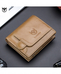 Bullcapain Yellow Polyester Genuine Leather Wallet