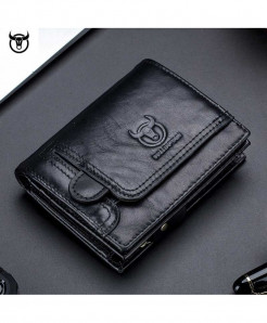 Bullcapain Black Polyester Genuine Leather Wallet