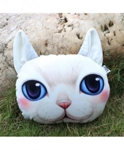 Chiziyo White Cat Pack Of 2 Artificial Plush Car Pillow Cover