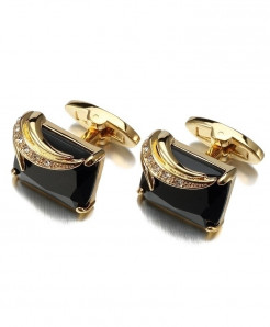 Lepton Black Gun Plated Copper Crystal Cufflinks