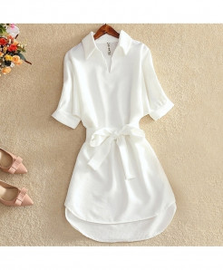 White Solid Chiffon Short Sleeve Tops