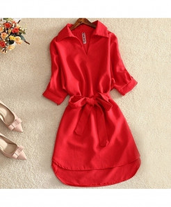 Red Solid Chiffon Short Sleeve Tops