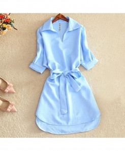 Sky Blue Solid Chiffon Short Sleeve Tops