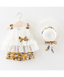 Szyadeou White Brown Sleeveless Cotton Baby Dresses