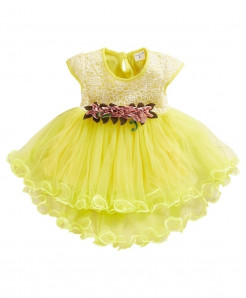 Muqgew Yellow Cotton Tulle Ruched Princess Dresses