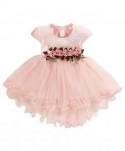 Muqgew Pink Cotton Tulle Ruched Princess Dresses