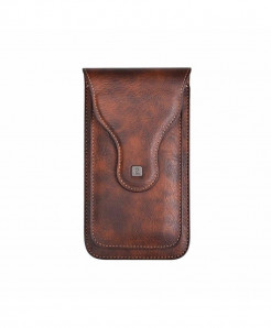 Brown Vintage Plain Matte Mobile Bag Pouch