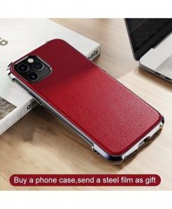 Gusgu Red Anti-knock Leather iPhone Case