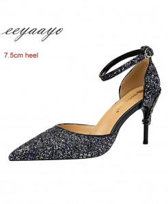 Eeyaayo Blue Sequined Cloth Ankle Strap Pumps Shoes
