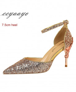 Eeyaayo Platinum Color Sequined Cloth Ankle Strap Pumps Shoes