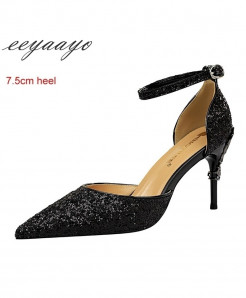 Eeyaayo Black Sequined Cloth Ankle Strap Pumps Shoes