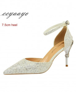 Eeyaayo White Sequined Cloth Ankle Strap Pumps Shoes